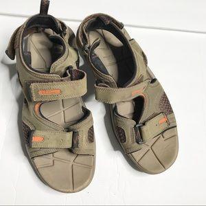 LL Bean men's Velcro strap tan sandals size 10
